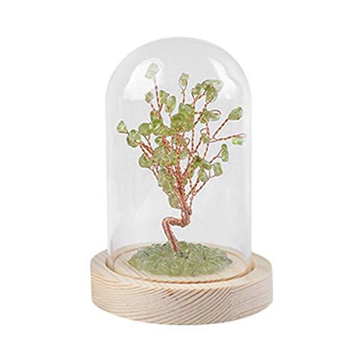 Árbol de piedra de aguamarina de cristal natural con cubierta de vidrio creativos adornos para decoración de oficina en el hogar