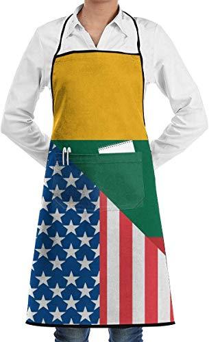 Ives Jean Delantal Unisex Ajustable de Largo Completo con Bolsillos, Babero de Chef de Cocina con Bandera de Estados Unidos y Lituania para Chefs caseros, Cocina, Barbacoa, Parrilla, Hornear