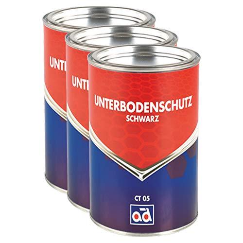 AD Chemie 3X Unterbodenschutz 2,5kg Schwarz Pinseldose Asbestfrei Kautschuk Lange Wirksamkeit Gegen Rost Struesalz Steinschlag 000306orca