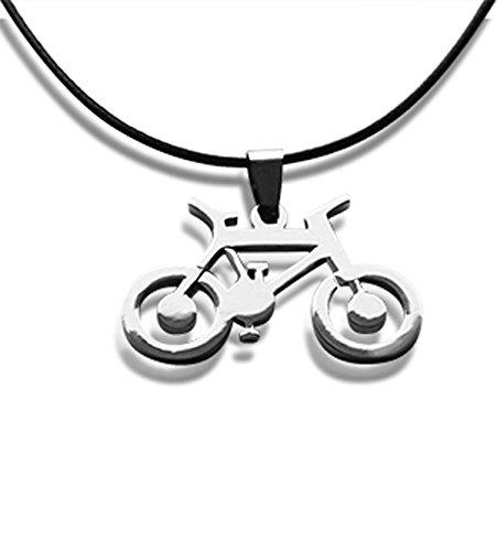 Bahnmüller Leder Halskette 45cm mit Edelstahl Fahrrad Anhänger 3,5cm in Silber (1143l-45)