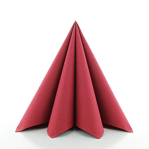 Sovie HORECA Airlaid-Servietten 40x40 cm | hochwertige Einweg-Servietten | extrem saugstark und stoffähnlich | ideal für Hochzeit & Partys | 50 Stück | Bordeaux-Rot