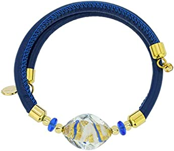 GlassOfVenice Delizia Pulsera de cuero de Murano - Azul