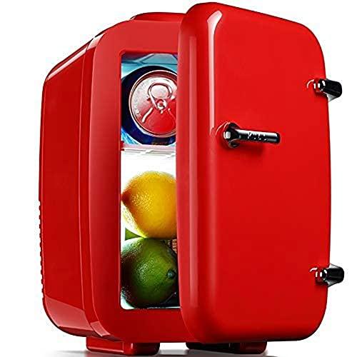 BAOZUPO Refrigerador Mini refrigerador Refrigerador compacto portátil que enfría y calienta, capacidad de 4 litros Enfría seis latas de 12 onzas, 100% libre de freón y ecológico con cargador de 12 V p