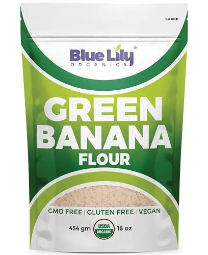 Blue Lily Organics Green Banana Flour (16 oz) - 100% Organic USDA Certified, Gluten-free Superfood - Alternative to Wheat Flour - Promotes Healthy Colon, Nutritious & Delicious Vegan All Purpose Flour