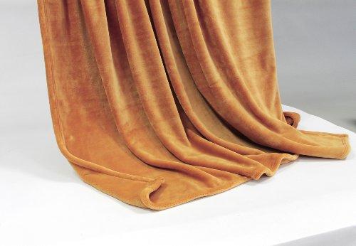 Feinste Tagesdecke Wohndecke Mikrofaserdecke Kuscheldecke, extra dick mit Silk/Cashmere Touch, ca. 150 x 200 cm, ocker
