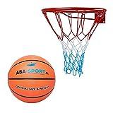 Kimet, canestro da basket con palla, per esterni, per bambini, cestino da basket per camera da letto, anello con rete, set con pallone da basket, diametro 45 cm