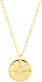 Friendship Necklace CZ Compass Round Gold Coin Pendant Necklace for Women Teen Girls Sterling Silver Simple Small Disk Min...