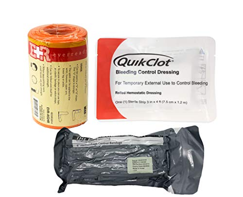 Ever Ready First Aid Combo Pack with Israeli Bandage Quikclot Clotting Sponge and ER Aluminum Splint