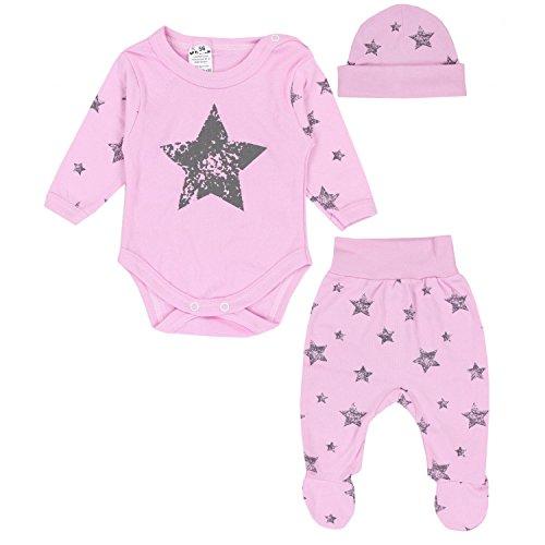 TupTam Baby Kleidung Set Body Strampelhose Mütze Bekleidungsset Jungen Mädchen, Farbe: Graue Sterne Rosa, Größe: 62