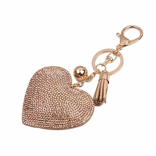 Ularma Strass Herz Keychain Schlüsselanhänger Schöne Mode Legierung Fahrzeugschlüssel Handtaschenanhänger Taschenanhänger (golden)