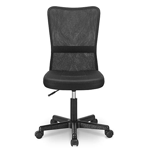 Merax Mesh Height Adjustable Chair Office Chair Lumbar Support Computer Desk Chair (Black)