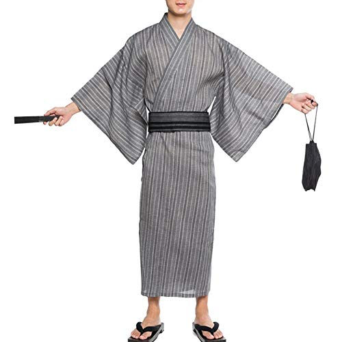 Fancy Pumpkin Kimono Giapponese da Uomo Yukata Giapponese Home Robe Pigiama Vestaglia Taglia L-C1