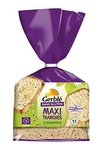 Gerblé Pain maxi moelleux 3 graines Sans Gluten & Sans lactose, Riche en fibres, Moelleux, 7 Tranches, 350 g, 210218