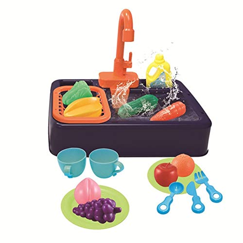AGOOLZX Children's Kitchen Toy Set Simulation Electric Dishwasher Pretend to Play House Toy Sink Dishwashing Set Children's Simulation Kitchen Children's Gift