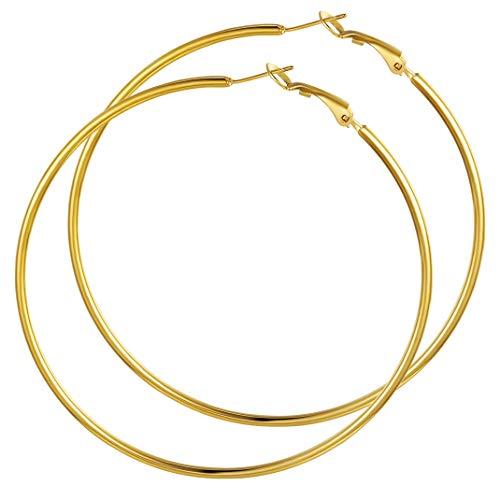GoldChic Jewelry Gold Earrings Hoop 70mm Aretes de oro baño Pendientes dorados Mujer Fiesta Boda Cartilago Cierre a presion Pendientes Circulo Acero inoxidable Hipoalergenico