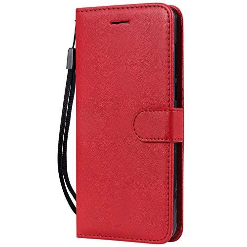 Hülle für Nokia 3.1Plus Hülle Handyhülle [Standfunktion] [Kartenfach] Tasche Flip Hülle Cover Etui Schutzhülle lederhülle flip case für Nokia 3.1 Plus - DEKT051454 Rot