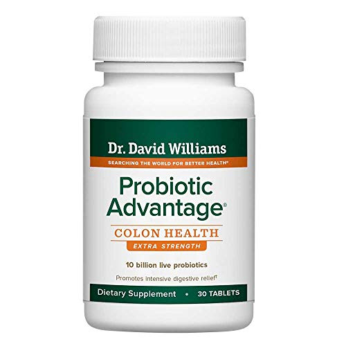 Dr. David Williams' Probiotic Advantage Colon Health Extra Strength Supplement for Digestive Support, 30 Tablets (30-Day Supply)