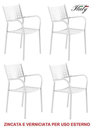 Chaise fauteuil pour usage extérieur modèle ALICE CH1550 Blanc Perle * * * OFFRE pour 4 pièces * * * zingué et vernie à poussières pour résister aux intempéries – produite en Italie de vermobil