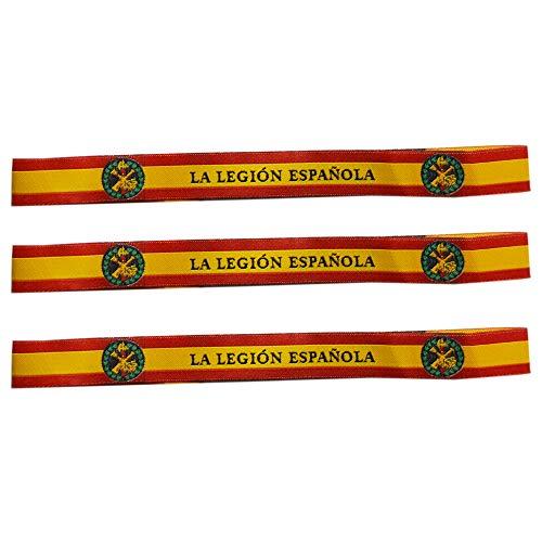 ALBERO 3 x Pulsera Legión Española Bandera de España Pura 29 x 1.50cm