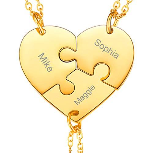 PROSTEEL Collar Rompecabezas BFF Corazon 3 Piezas, Chapado en Oro, Colgante de Amistad para Tres
