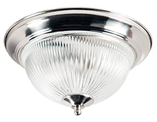 Moderne IP44 badkamer Flush Plafond Licht in Satijn Zilver met Clear Ribbed Glass Shade - LED Compatibel