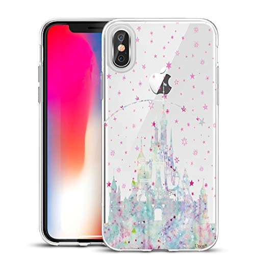 Unov Case Compatible with iPhone Xs Max Case Clear with Design Slim Protective Soft TPU Bumper Embossed Pattern Protective 6.5 Inch (Watercolor Castle)