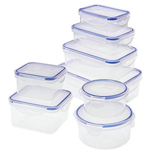 SIKITUT Recipientes de Plástico para Comida,Set de Contenedores de Alimentos,Recipientes Herméticos 8 Piezas,Apto para Lavavajillas, Microondas y Congelador, A Prueba de Fugas, Sin BPA