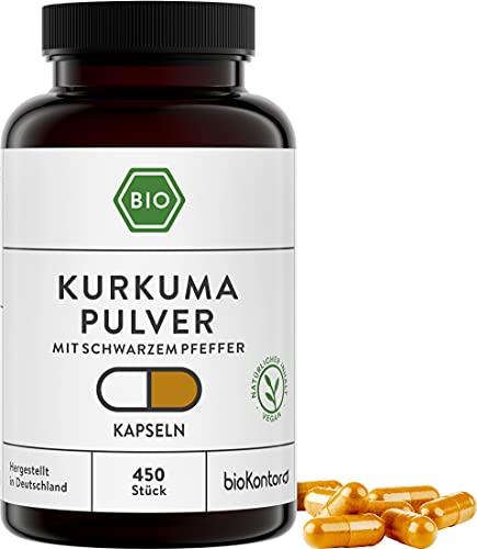Bio Kurkuma Kapseln 450 Stück à 600 mg - Curcuma und schwarzer Bio Pfeffer pro Kapsel - vegan & ohne Zusatzstoffe - laborgeprüft in Deutschland - bioKontor