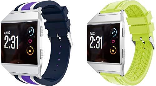 Simpleas Correa de Reloj Compatible con Fitbit Ionic, Silicona Correa Reloj con Acero Inoxidable Hebilla desplegable (2PCS B)
