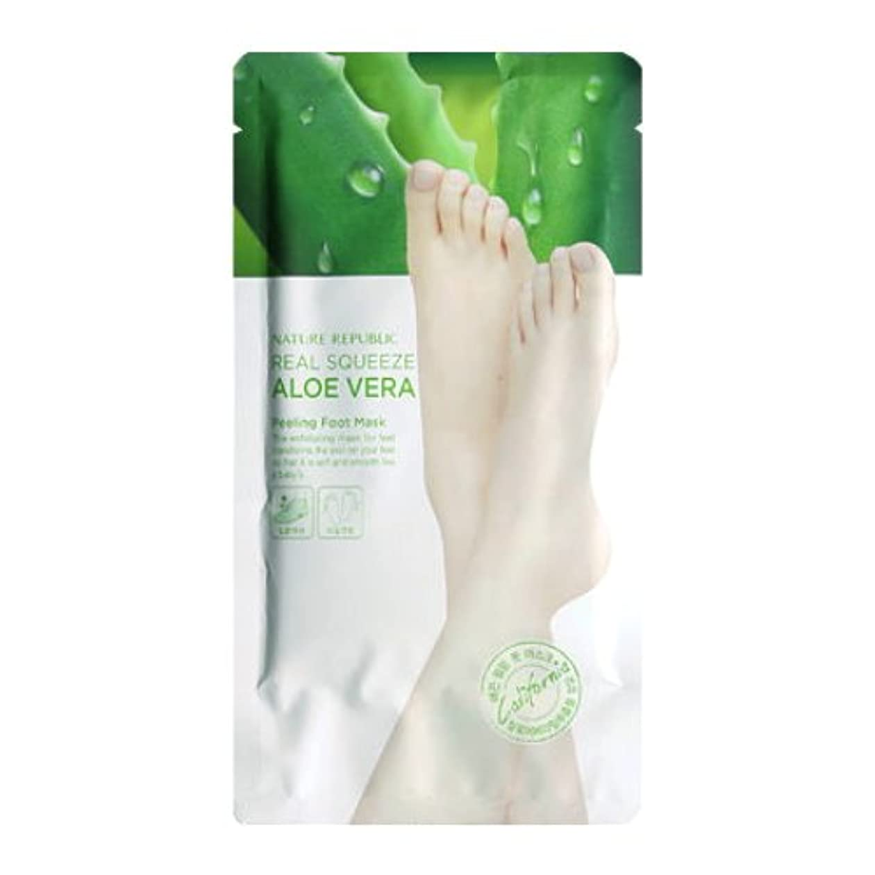 血まみれ貨物騒NATURE REPUBLIC Real Squeeze Aloe Vera Peeling Foot Mask (並行輸入品)