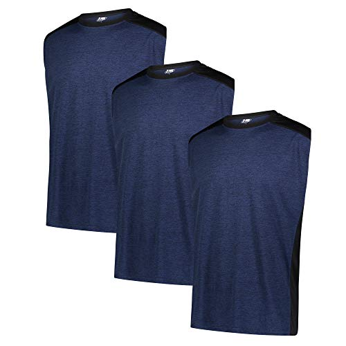 X-PRO Mens Sleeveless Dry-FIT Athletic Performance Tee for Men 3 Pack Moisture Wicking T-Shirts (XX-Large, Navy)