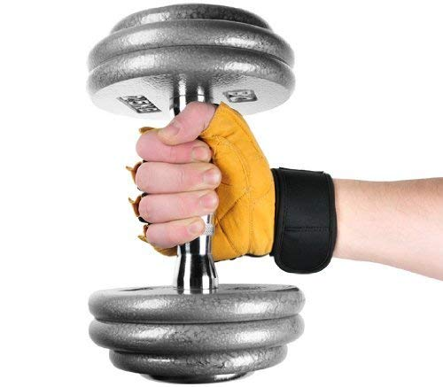 """Deluxe Leder Trainings- und Fitness schwarz / braun – Handschuhe """" The Bat"""" inkl. elastischer Nylon Handgelenksbandagen - 5"""