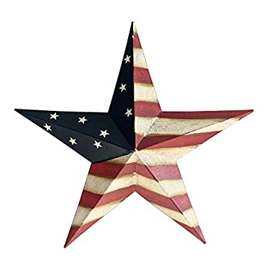 Metal Patrotic OLD Glory American Flag Barn Star July of 4th Decoration