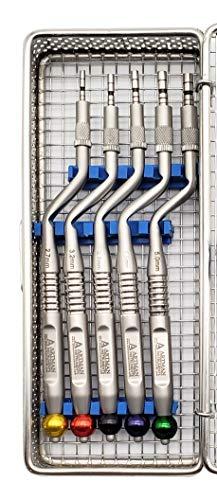 Osteotomes Set (5 pcs) Premium Design in Mesh Box Cassette Concave Tip Sinus Lift ARTMAN Brand
