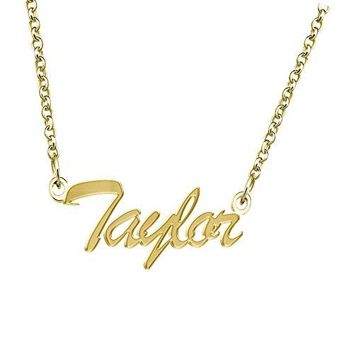 Elefezar - Collar con colgante personalizado con placa de nombre chapado en oro de 18 quilates
