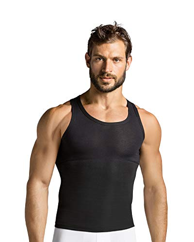 LEO Moderate Compression Shirt for Men - Slimming Tank top Undershirt Black
