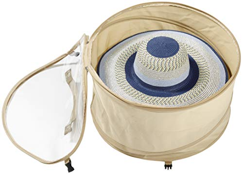 TIURE Large Hat Pop Up Bag Storage and Travel Box for Big Round Hats and Caps Expands to Required Size Keeps Out Dust and Dirt, 19 inches Diameter (Large)