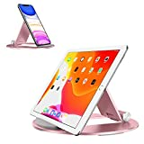 Tablet Stand Adjustable, OMOTON Desktop Aluminum iPad Stand with Anti-Slip Base, Portable Holder Dock for iPad 10.2/9.7, New iPad Pro 11 2020, iPad Air, Samsung Tab, E-Reader and Cellphones, Rose Gold