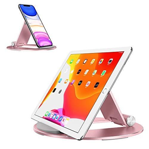 OMOTON Soporte Tablet, Multiángulo Soporte Tableta para iPad Pro/Mini/Air, Samsung Tab y Otros Teléfonos Móviles, Soporte de Aluminio para Tablet y Kindle de 4-10,5 Pulgadas, Oro Rosa
