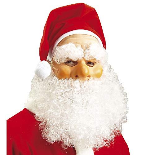 Widmann 1515N Kerstman masker met muts, pruik en baard, heren, rood/wit, eenheidsmaat