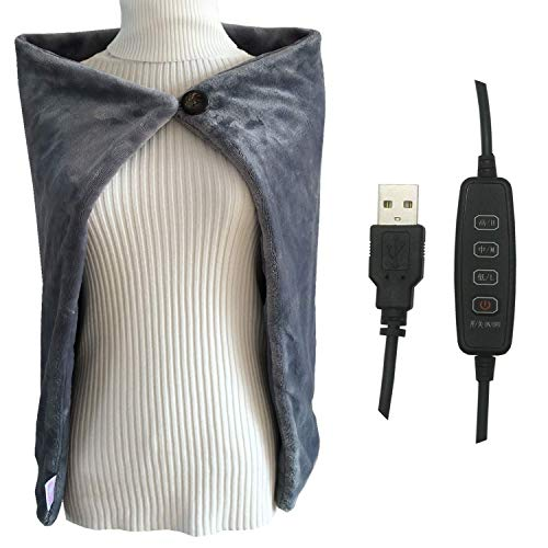 """H-Hour USB Heated Shawl, Warm Electric Throws Flannel Blanket Heating Cushion Pad Blanket - 3 Speed Regulating Switch 34""""X22"""" (Gray)"""