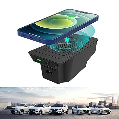 El cargador inalámbrico del coche es aplicable para Volvo XC60 2018-2021 panel de accesorios de la consola central, 10W Qi carga rápida teléfono cargador pad con qc3.0 USB, para iPhone y Samsung.