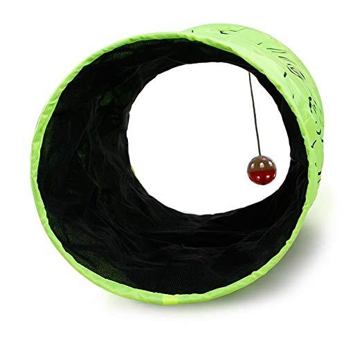 U/K Túnel de Gato Pet Pet Pet Cable Tunnel Play TUNNELETE Suministros Tres Capas Neon Green Gato Toy Juguetes para Mascotas con Pelota Play Diversión Tunnel Scratch Gatito Juguetes 51cmx25.5cm