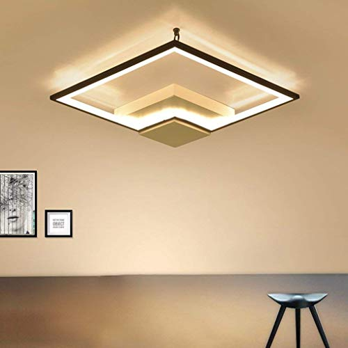 Luce Plafoniera Luz de techo Minimalismo moderno Estudio Sala de estar Dormitorio Comedor Lámpara de techo decorativa Personalidad creativa Geometría Cuadrada Negro Hierro acrílico Iluminación de tech