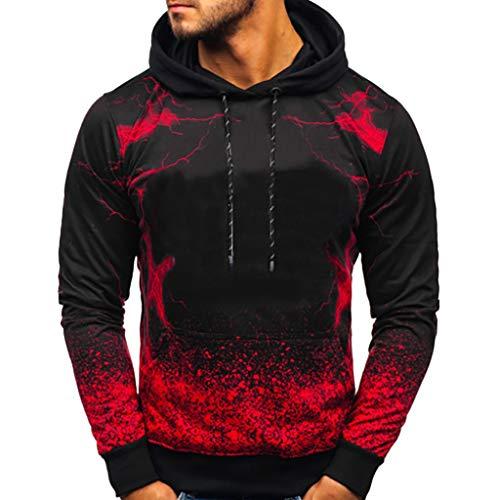 CCIKun Mode Herren Sweatshirt Kapuzenpullover Pullover Hoodie Langarm Farbverlauf Drucken Kapuzenansatz Känguru-Tasche Drawstring Sweatjacke Casual Streetwear Tops(rot,L)