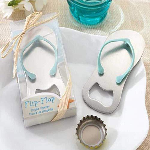 Riforla ⭐⭐⭐⭐⭐ Flip-Flop Bottle Opener, Beach Flip Flops Bottle Opener Keychain Corkscrew Key Chain Holder or Fridge Magnet Bridal Shower Wedding Favors