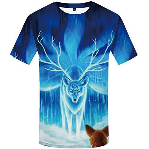 Zaima 3D Galaxy Camisetas Elk Animal Hombres Casual Unisex Impreso Hombre Manga Corta Cuello Redondo Streetwear Camisetas Tops Ropa Divertida