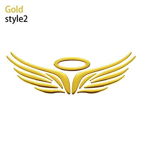 cool Marke 3D - Vinyl Engel fee flügel Fahrzeug - Aufkleber Auto kfz - Logo Auto - Aufkleber(Style 2,Gold)