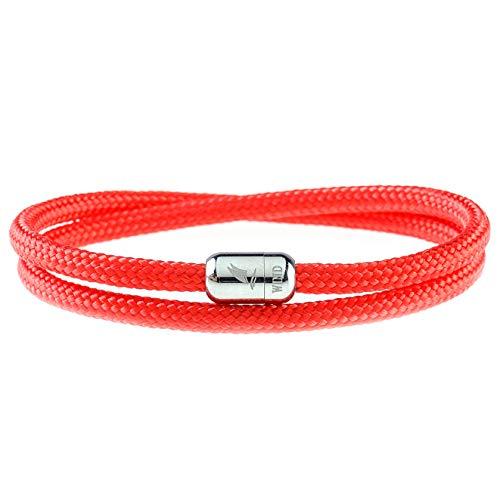 Wind Passion Lightweight Nautical Paracord Sturdy Rope Red Bracelet with Magnetic Clasp for Men Women, Small Size