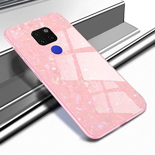 Ostop Glitzer Muschel Muster Hülle für Huawei Mate 20,Ultra Dünn Handyhülle Gehärtetes Glas Rückseite Abdeckung Weich TPU Silikon Stoßstange Stoßfest Schutzhülle-Rosa